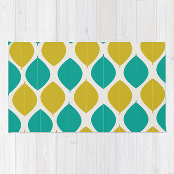TEAL AND GREEN LEAVES Area & Throw Rug by Allyson Johnson