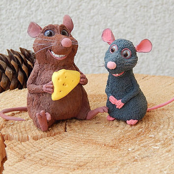 Ratatouille Remy and Emile the rats, Disney Animals Collection from Disney's Ratatouille Remy and Emile rats figurine skulpture of clay