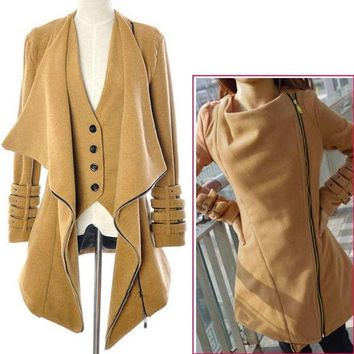 PEAPUG3 Women's Wool Long Winter Jacket Coat Outwear  7567