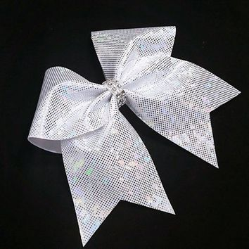 Silver cheer bow, Cheer bows, cheerleading bow, cheerleader bow,  softball bow, cheer bow, dance bow, large hair bow, bow, shattered glass