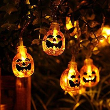 Icicle Battery Powered Pumpkin Halloween String Lights, 20 Led 9.51ft Halloween Decoration Lights (Orange)