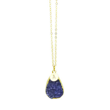 Druzy Necklace, Blue Druzy Necklace with Initial Charm, Personalized Initial Necklace
