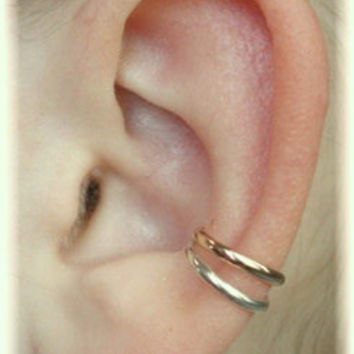 Classic Double Ear Cuff - Sterling Silver,14K Gold Filled or Mixed Metals - SINGLE SIDE
