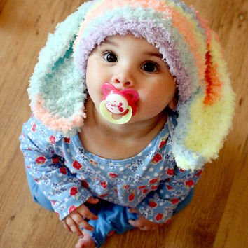 2T to 4T Kids Hat Bunny Beanie Rainbow Crochet Animal Hat - Bunny Hat Bunny Ears Toddler Hat Flopsy Rabbit Photo Prop
