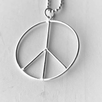 Large Peace Sign Necklace, Sterling Silver, Peace Necklace, Handmade Jewelry, Gifts for Her, Everyday Necklace, Peace Sign
