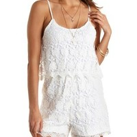Lace Flounce Romper by Charlotte Russe