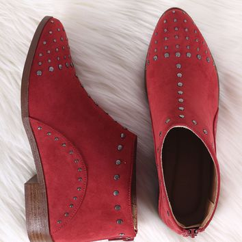Qupid Studded Suede Almond Toe Booties