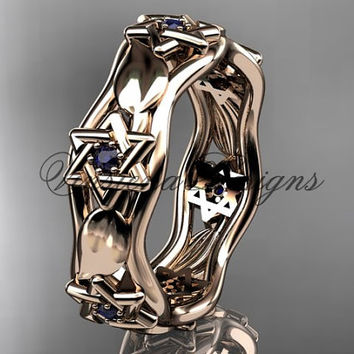 14k rose gold leaf and vine, Star of David ring, jewish ring, wedding band VH10014B