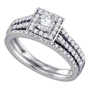 14kt White Gold Women's Round Diamond Square Halo Bridal Wedding Engagement Ring Band Set 1.00 Cttw - FREE Shipping (US/CAN)