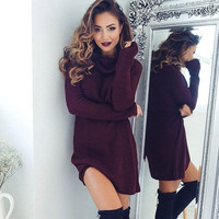 Wine Red Turtleneck Sweaters Dress + Free Christmas Gift -Random Necklace