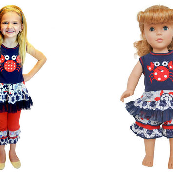 """AnnLoren Seaside Nautical Crab Girls Outfit +Matching 18"""" Doll Outfit RRP:$67.98"""