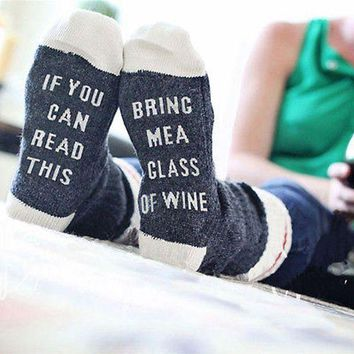 DCCKM83 Custom wine socks If You can read this Bring Me a Glass of Wine Socks autumn spring fall 2017 new arrival