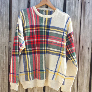 Vintage Mens Sweater - Plaid Sweater - Ugly Sweater - Cotton Linen Ramie - SZ M / L