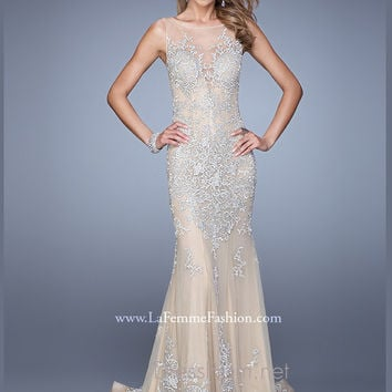 Embroidered La Femme Evening Gown 21566