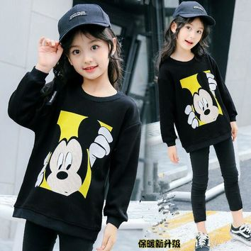 Mickey Mouse Sweater Children's Mickey Sweater Girls Knitted Sweater Long Sleeve Sweater Big Children's Pullover Girls Clothes