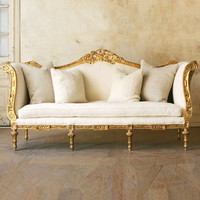 One of a Kind Louis XVI Vintage Daybed Original Deep Gold