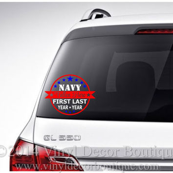 Military Fallen Hero Memorial Car Decal Vinyl Lettering  Proud Military Marine Car Decal Army Navy Marine Airforce