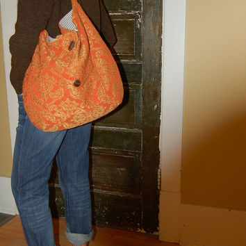 Orange Shoulder Bag,  Brocade, Tote Bag, Vintage, Large, Elegant, Durable, Diaper Bag,  Gold,  Pockets, Overnight Bag, Baby Shower Gift