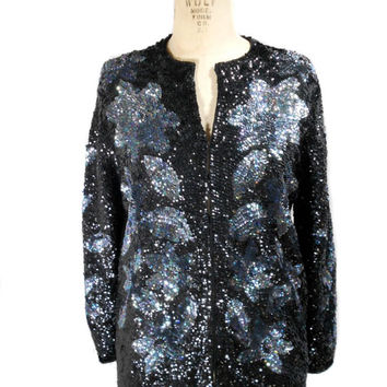 1980s Sequin Cardigan Sweater / Black Iridescent / Floral / Sweater / Hipster / Grandma Yetta / Womens Vintage Sweater / Size Large