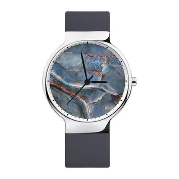 Crackle Marble Watch, Mens Watch, Women Watches, Minimalist, Jewelry, Modern, Gift, Simple, White Silicone Strap