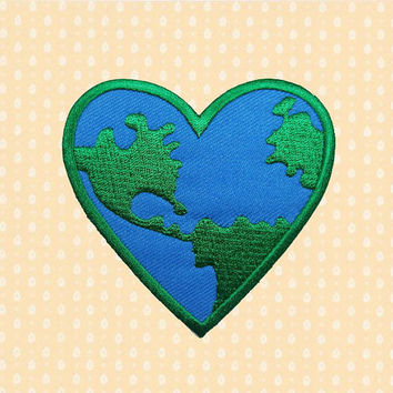 Love Earth Heart Shape Sign Symbol Iron On Patch Embroidered Sew On Apllique DIY Jeans Patches