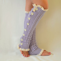 Leg warmers- lilac slouchy open button down lace leg warmers knit lace leg warmers boot socks christmas gifts