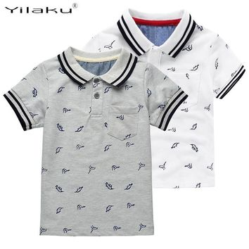 Yilaku New Summer Dinosaur Boys T-shirts Cotton Kids Tops Sports Tee Turn-down Collar