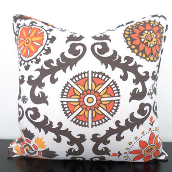 20x20 ikat pillow cover, orange couch pillow, gray orange cushion, large ikat cushion, grey sofa pillow usbekistan ikat, orange pillow sham