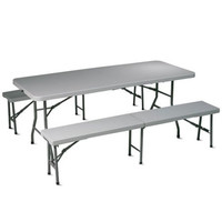 Portable 3-Piece Sturdy Folding Table and Bench Set