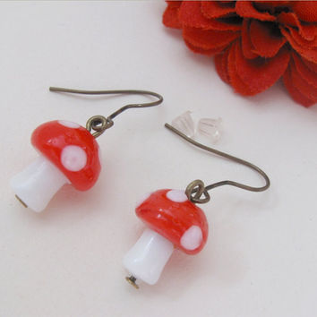 Red mushroom earrings with bronze hooks and lampwork glass beads