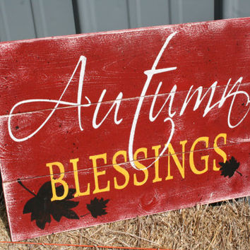 Autumn Blessings Wood Sign Fall Decor Autumn Decor WallArt Pallet Wood Sign Rustic Fall Wallhanging Autumn Wallhanging Halloween Decor