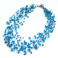Blue Necklace. Bridesmaid Necklace. Wedding Necklace. Beadwork. Bridal Necklace.
