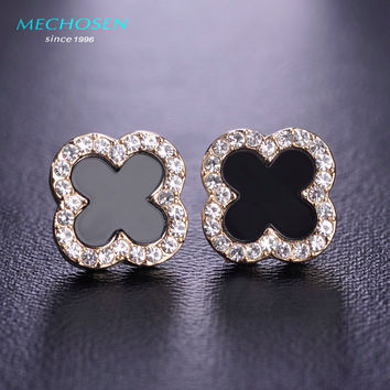 MECHOSEN Kawaii Green Flower Stud Earrings Gold Plated Shell Clover Brincos Cute Crystals Copper Aretes Women Girls Accessories