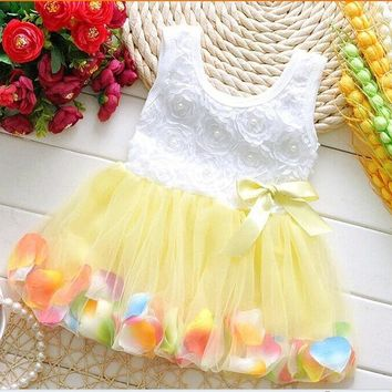 Summer Baby Girls Chiffon Girl Flower Rose Petal Hem Dress Candy Color Cute Casual Dress Vestidos Infant 1-2 years tutu Dresses