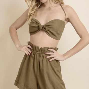 Linen Halter Top & Shorts Set