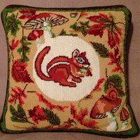 Handmade Fall Chipmunk and Maple Leaf Needlepoint Zippered Pillow Cover- Vintage 1960's