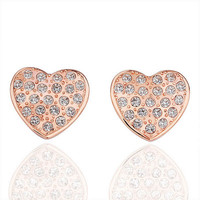Lady's Elegant Rose Gold Plated Brass Heart Shaped Stud Earrings Spotted with Clear Swarovski Elements Stones - Corazon de Rosa