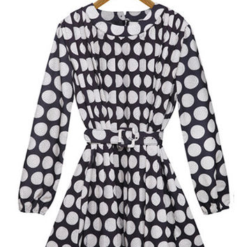 White Polka Dot Long Sleeve A-Line Pleated Chiffon Mini Dress