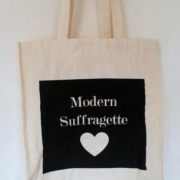 Feminist Modern Suffragette Tote Bag, Reusable Shopper Bag, Natural Cotton Tote, Shopping Bag, Political Protest Black and White Grocery Bag