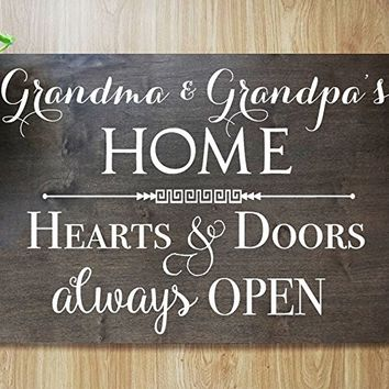 CHRISTMAS FAST SHIPPING- GRANDMA AND GRANDPA'S HOME SIGN: Grandma and Grandpa's Home Hearts & Doors always OPEN Sign #GG01