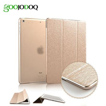 Slim Silk Smart Case for ipad Air 2  Air 1 Flip Ultra Thin PU Leather+Transparent PC Cover for Apple Ipad 5  6  Auto Sleep/Wake