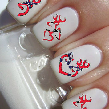 Rebel Flag Browning Deer Nail Decals