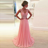 CF5 Vestidos De Fiesta Sexy Long V Neck A Line Pink Prom Dresses 2017 Hot Sale Lace Evening Party Dress For Graduation