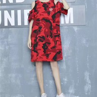 """Adidas"" Casual Loose Camouflage Print Hollow Short Sleeve Medium Long Section T-shirt Mini Dress"