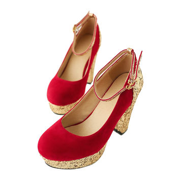 Bridesmaid Wedding Women Shoes  red  35