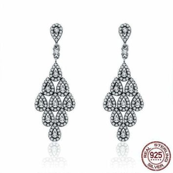 Authentic 925 Sterling Silver Cascading Glamour Clear CZ Earrings