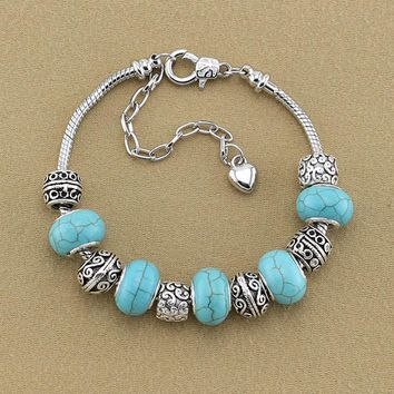European Bracelet Luxury Jewelry Turquoises Stone Silver Color Chain Bracelets Antique Large Hole Beads Charm Wrist Bracelets