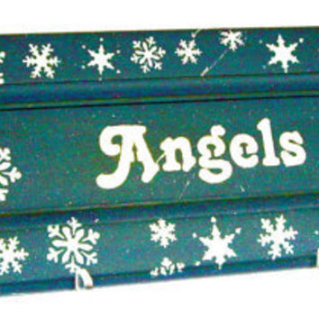 Christmas Angel Hand Painted Sign upcycled recycled kitchen cabinet door cij