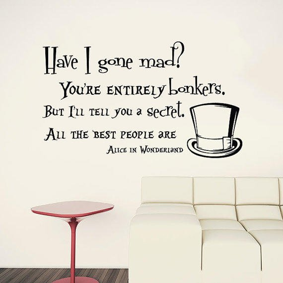 Alice In Wonderland Quotes Mesmerizing Wall Decals Quotes Alice In Wonderland From TrendyWallDecals On