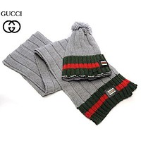 """Gucci"" Women Winter Knit Warmer Hat Cap Scarf Set F"